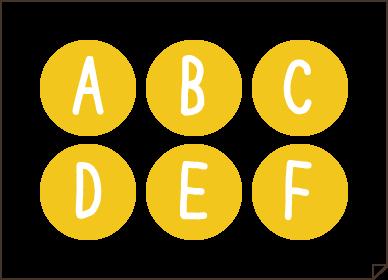 アルバム素材_アルファベット&数字黄色