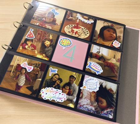 整理が大変な子供の写真も可愛く入れられる!大容量のバインダーアルバム