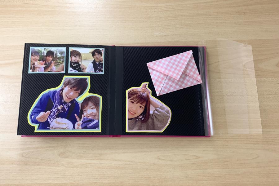 アルバム作り方:封筒を仮置きする