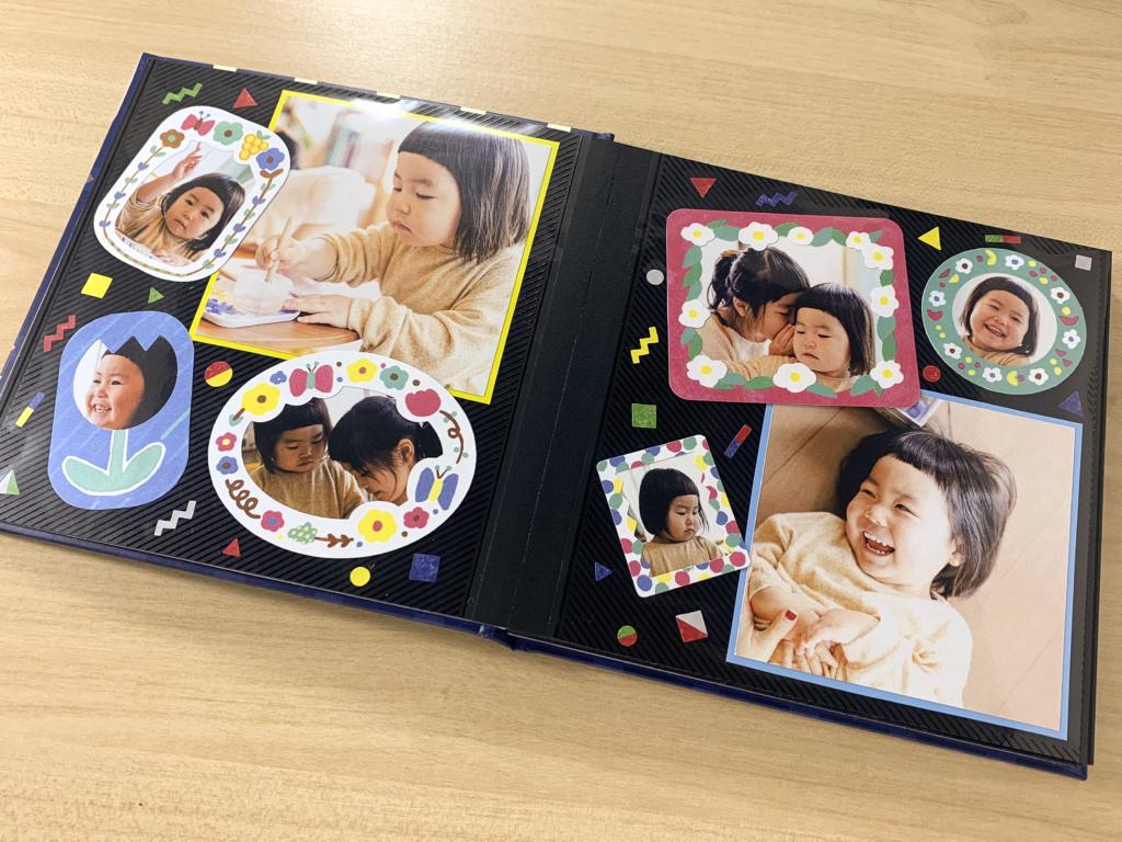 簡単に写真を可愛く切り取れる イラストいっぱいの手作りアルバムを子供に作ろう 手作りアルバム アルバムキッチン
