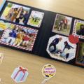 フレームカットシールで簡単に作れる!ハートのイラストいっぱいの誕生日アルバム
