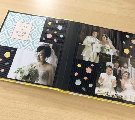 ましかく写真とカードをペタペタ貼るだけ!結婚式の思い出アルバム