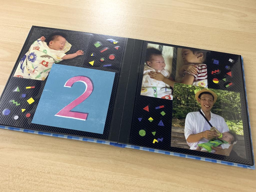 ましかく写真とカードをペタペタ貼るだけ!簡単子どもの思い出アルバム