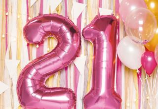 ピンクとゴールド2色のバルーン