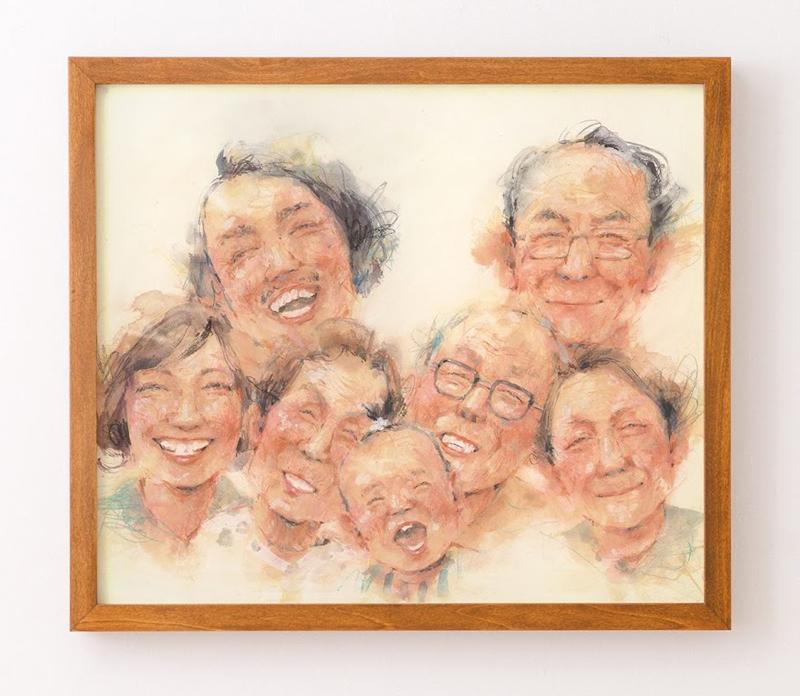娘の1歳の誕生日に描いた家族の似顔絵