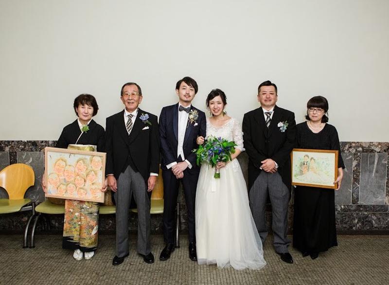 家族の似顔絵