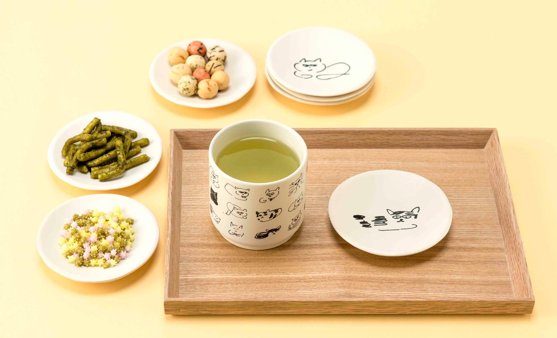 ねこのひ限定アイテム 湯呑みと豆皿とお茶