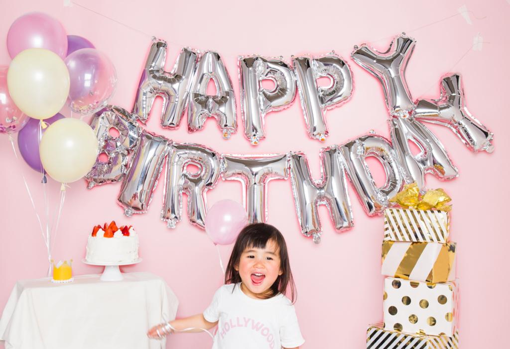 誕生日のお祝いにガーランドバルーン